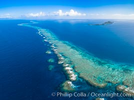 Aerial View of Namena Marine Reserve and Coral Reefs, Namena Island, Fiji., natural history stock photograph, photo id 34683