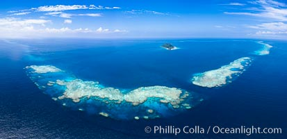Aerial View of Namena Marine Reserve and Coral Reefs, Namena Island, Fiji. Namena Marine Reserve, Namena Island, Fiji, natural history stock photograph, photo id 34686