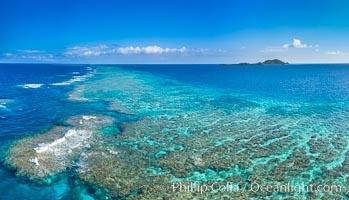 Aerial View of Namena Marine Reserve and Coral Reefs, Namena Island, Fiji., natural history stock photograph, photo id 34693