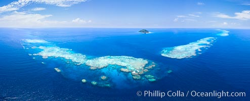 Aerial View of Namena Marine Reserve and Coral Reefs, Namena Island, Fiji