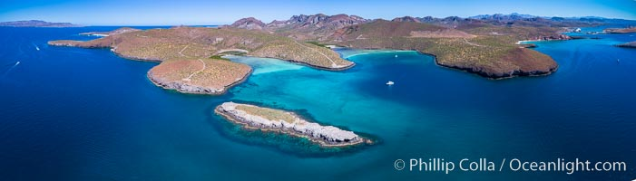 Aerial View near Playa Balandra and Lobera San Rafaelito, Sea of Cortez. Lobera San Rafaelito, Baja California, Mexico, natural history stock photograph, photo id 33829