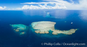 Aerial View of Vatu-i-Ra Coral Seascape, Fiji, Vatu I Ra Passage, Bligh Waters, Viti Levu Island