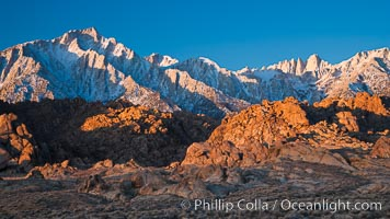Alabama Hills and Sierra Nevada, Lone Pine Peak and Mount Whitney, sunrise, Alabama Hills Recreational Area