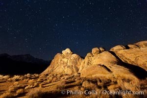 Alabama Hills and stars at night, Alabama Hills Recreational Area