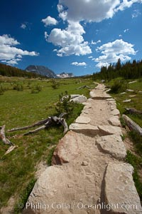 Alpine meadow and John Muir Trail, in Yosemite's high country on approach to Vogelsang High Sierra Camp, Yosemite National Park, California