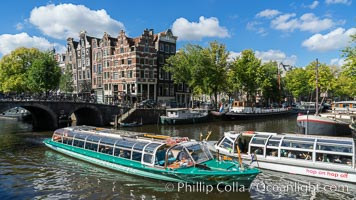 Amsterdam canals and quaint city scenery. Amsterdam, Holland, Netherlands, natural history stock photograph, photo id 29434