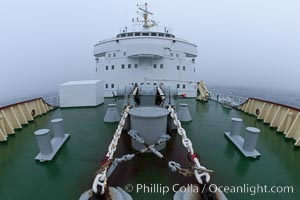 Anchor chains and winches, bow deck and rails, and forward structure of the M/V Polar Star