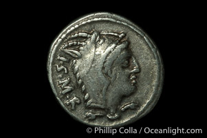 Ancient Roman coin, minted by L. Thorius Balbus (105 B.C.), (silver, denom/type: Denarius) (Denarius Syd-598. Craw-316/1. Obverse: Head of Juno of Lanuvium right, wearing goats skin, I.S.M.R. behind. Reverse: Bull charging right, T above, L THORIUS mint.)