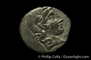 Ancient Roman coin, minted by C. Vibius C.F. Pansa (90 B.C.), (silver, denom/type: Denarius)