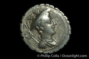 Ancient Roman coin, minted by C. Mamilius Limetanus (82 B.C.), (silver, denom/type: Denarius)