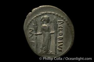 Ancient Roman coin, minted by P. Clodius (42 B.C.), (silver, denom/type: Denarius) (Denarius Cr. 494/23, SYD 1117, BAB (Claudia) 15.)