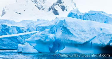 Antarctic icebergs, sculpted by ocean tides into fantastic shapes, Cierva Cove