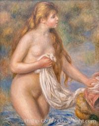 """Baigneuse aux cheveux longs, Pierre-Auguste Renoir, 1895,  Musee de l""""Orangerie, Musee de lOrangerie, Paris, France"""