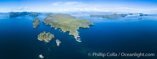 Balaklava Island and Browning Pass, location of the best cold water diving in the world, aerial photo