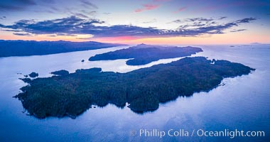 Balaklava Island at sunset, aerial photo, Vancouver Island, Canada