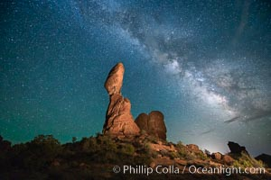 Balanced Rock and Milky Way stars at night. Arches National Park, Utah, USA, natural history stock photograph, photo id 27831