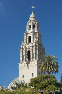 The California Tower rises 200 feet above Balboa Park, San Diego