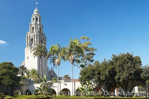 The California Tower rises 200 feet above Balboa Park. Balboa Park, San Diego, California, USA, natural history stock photograph, photo id 14596