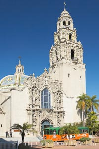 The South Facade of the San Diego Museum of Man is an ornate design containing statues and busts of figures important to the Spanish heritage of San Diego.  Balboa Park