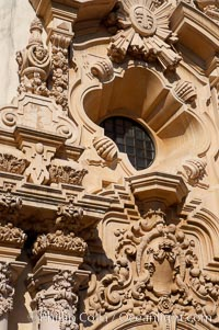 Detail of the ornate south facade of the Casa del Prado, Balboa Park, San Diego, California