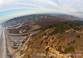 Torrey Pines balloon aerial survey photo.  Torrey Pines seacliffs, rising up to 300 feet above the ocean, stretch from Del Mar to La Jolla. On the mesa atop the bluffs are found Torrey pine trees, one of the rare species of pines in the world. Peregine falcons nest at the edge of the cliffs. This photo was made as part of an experimental balloon aerial photographic survey flight over Torrey Pines State Reserve, by permission of Torrey Pines State Reserve, San Diego, California