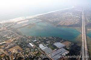 Batiquitos Lagoon aerial view, showing coastline and Interstate 5 freeway, Carlsbad, California