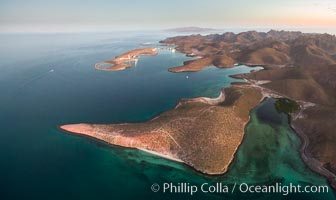 Bay of La Paz coast near Playa el Tesoro, Aerial Photo at Sunrise