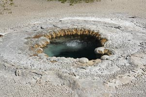 Beach Spring bubbling. Upper Geyser Basin, Yellowstone National Park, Wyoming, USA, natural history stock photograph, photo id 13405