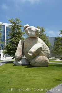 "Bear is another of the odd outdoor ""art"" pieces of the UCSD Stuart Collection.  Created by Tim Hawkinson in 2001 of eight large stones, it sits in the courtyard of the UCSD Jacobs School of Engineering. University of California, San Diego, La Jolla, California, USA, natural history stock photograph, photo id 20849"