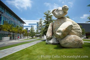 "Bear is another of the odd outdoor ""art"" pieces of the UCSD Stuart Collection.  Created by Tim Hawkinson in 2001 of eight large stones, it sits in the courtyard of the UCSD Jacobs School of Engineering. University of California, San Diego, La Jolla, California, USA, natural history stock photograph, photo id 20854"
