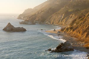 Big Sur coastline at sunset, viewed from Julia Pfeiffer Burns State Park