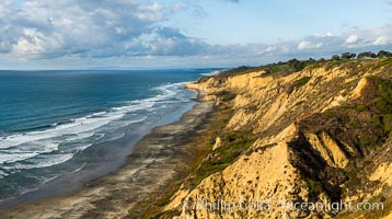 Black's Beach and Sandstone cliffs at Torrey Pines State Park, viewed from high above the Pacific Ocean near the Indian Trail, La Jolla, California