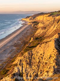 Blacks Beach and Torrey Pines sea cliffs, looking north, aerial photo, La Jolla, California
