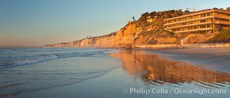 La Jolla Coastline, Hubbs Hall at SIO, Black's Beach, Torrey Pines State Reserve, panorama, sunset. Scripps Institution of Oceanography, California, USA, natural history stock photograph, photo id 26537