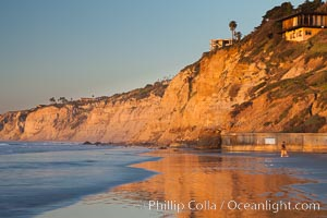 Seacliffs at sunset, viewed from SIO towards Black's Beach and on to Torrey Pines State Reserve, Scripps Institution of Oceanography, La Jolla, California