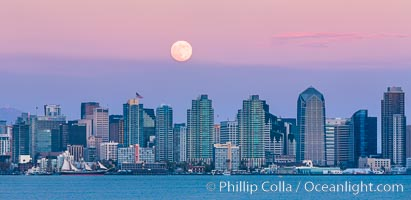 Blue Moon, Full Moon at Sunset over San Diego City Skyline, approaching jet with headlights appearing in front of the moon