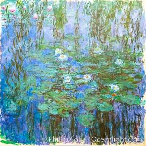 Blue Water Lilies, Claude Monet, Musee d'Orsay, Paris. Musee dOrsay, France, natural history stock photograph, photo id 35659