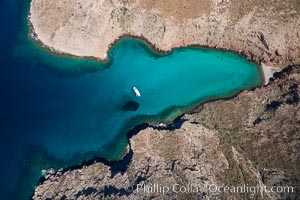 Boat Ambar and School of Fish, Ensenada el Embudo, Isla Partida, aerial photo