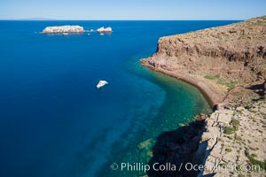 Boat Ambar III at Punta Maru, Isla Partida, Sea of Cortez. Los Islotes in the distance