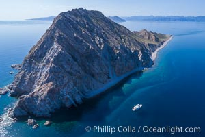 Boat Ambar at Isla San Diego, Aerial View, Sea of Cortez