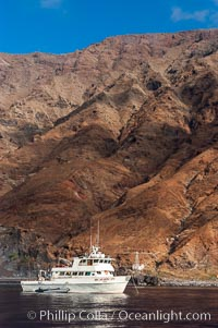 Guadalupe Islands mountainous terrain and sea cliffs tower above the dive boat Horizon while at anchor in Spanish Cove, near the north end of Guadalupe Island (Isla Guadalupe)