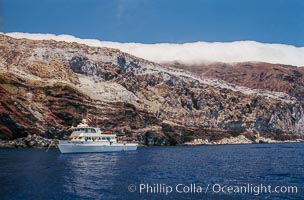 Boat Horizon anchored at Butterfly Cove, Guadalupe Island, Mexico, Guadalupe Island (Isla Guadalupe)