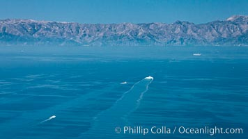 Boats crossing the San Pedro Channel to Catalina Island