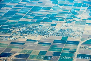 Brawley, town and farms, viewed from above, Imperial, California