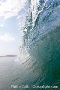 Breaking wave, morning surf, curl, tube, Ponto, Carlsbad, California