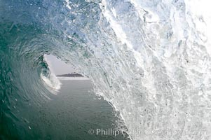 Breaking wave, morning surf, curl, tube, Ponto, Carlsbad, California