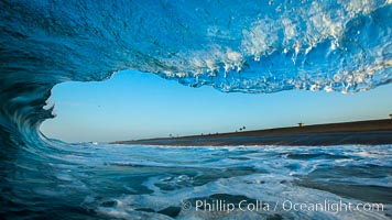 Breaking wave, morning, barrel shaped surf, California, The Wedge, Newport Beach
