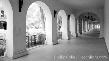 Image 23097, Breezeway and arches, Casa del Prado. Balboa Park, San Diego, California, USA, Phillip Colla, all rights reserved worldwide. Keywords: balboa park, building, california, casa, infrared, infrared photography, outdoors, outside, park, prado, recreation, san diego, tourism, travel, usa, visitor.