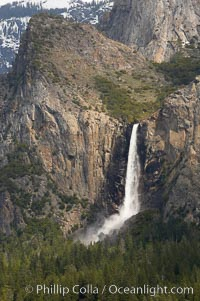 Bridalveil Falls plummets 620 feet (200m).  Yosemite Valley, Yosemite National Park, California