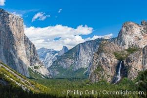 Bridalveil Falls in Yosemite drops 620 feet (188 m) from a hanging valley to the floor of Yosemite Valley. Yosemite National Park, California, USA, natural history stock photograph, photo id 09182